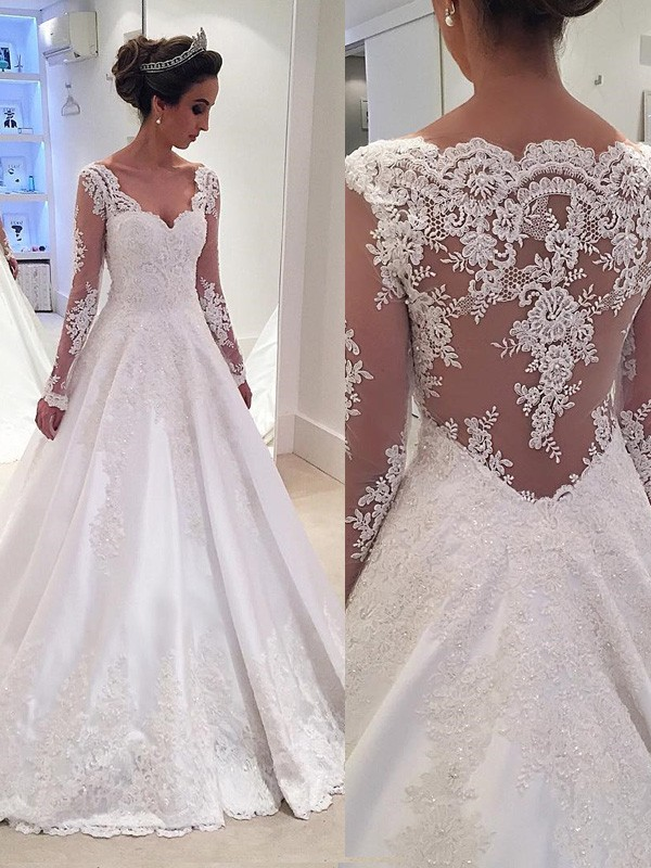 Ball Gown V-neck Long Sleeves Lace Court Train Satin Wedding Dress