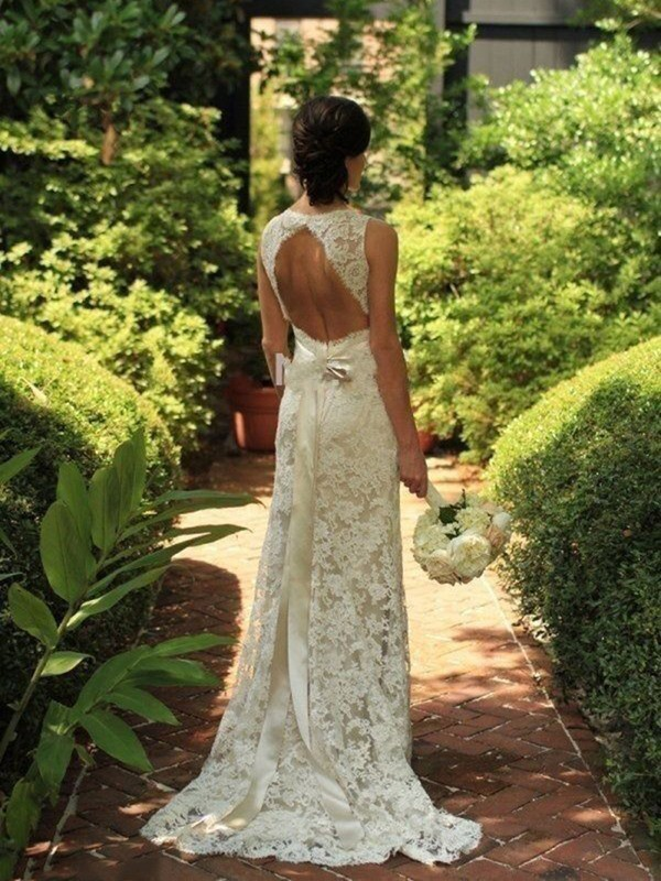 Sheath/Column Sleeveless Lace V-neck Sweep/Brush Train Wedding Dress