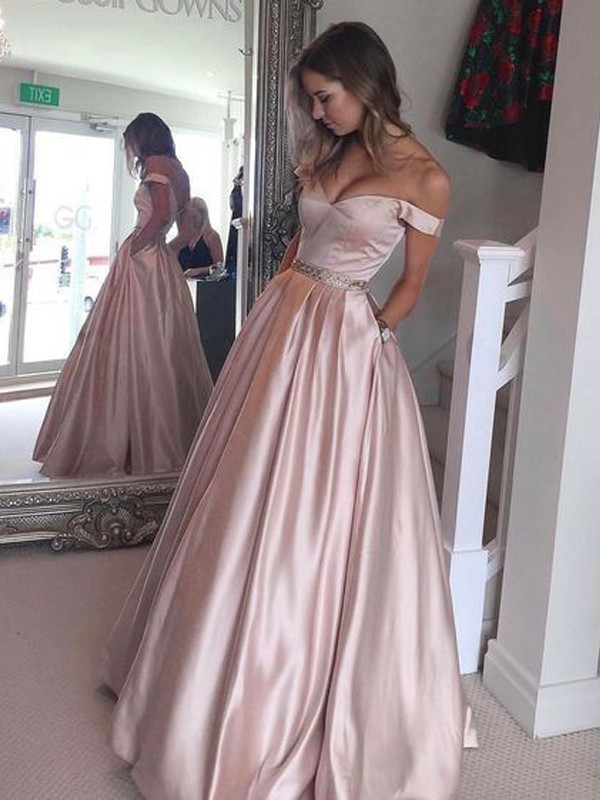 A-Line/Princess Off-the-Shoulder Floor-Length Satin Dresses