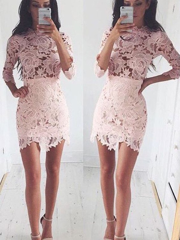 A-Line/Princess 1/2 Sleeves Scoop Short/Mini Dresses with Lace