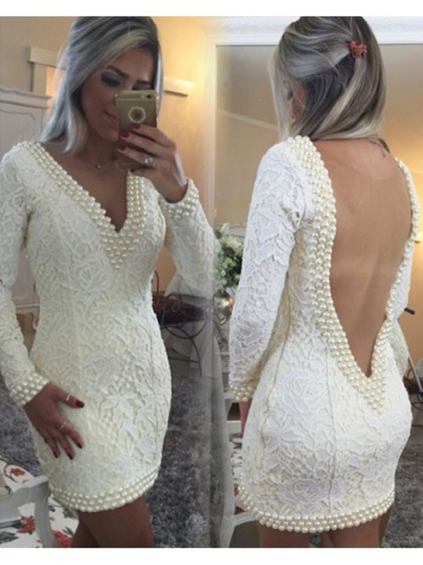 A-Line/Princess Long Sleeves V-neck Pearls Short/Mini Dresses with Lace