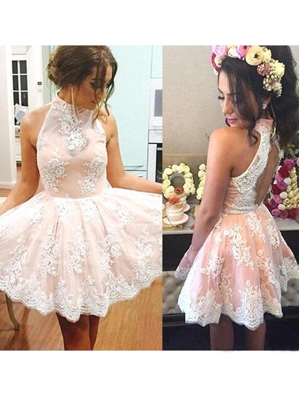 A-Line/Princess Sleeveless High Neck Short/Mini Dresses with Lace