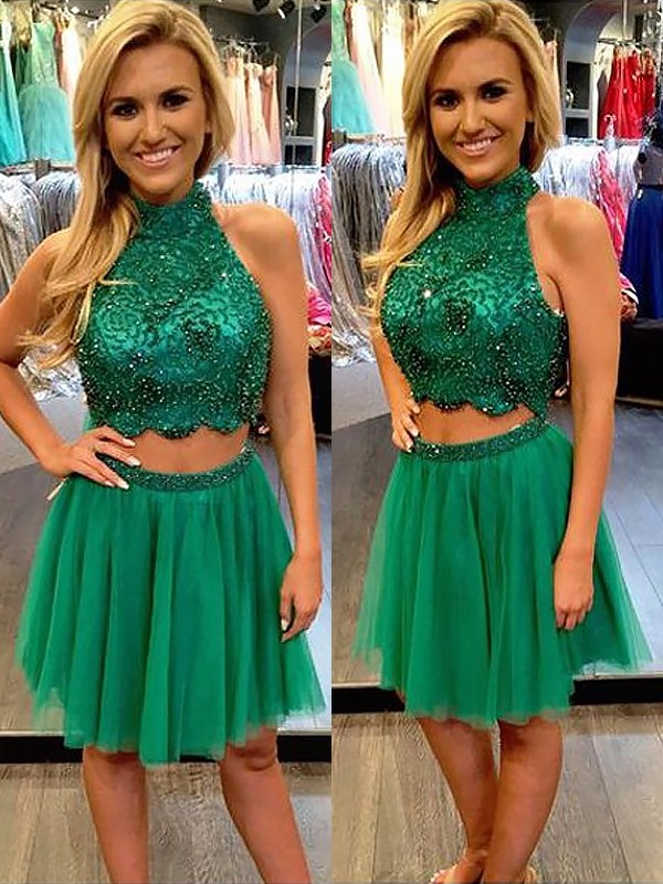 A-Line/Princess Sleeveless High Neck Tulle Short/Mini Dresses with Beading