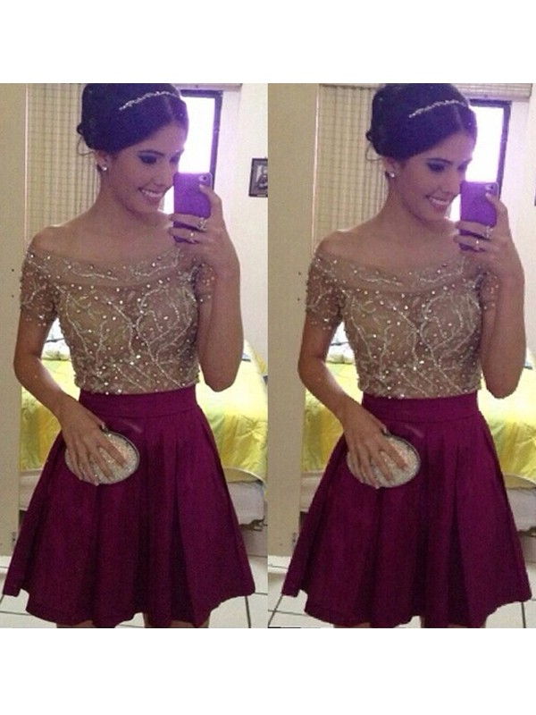 A-Line/Princess Short Sleeves Off-the-Shoulder Satin Short/Mini Dresses with Beading