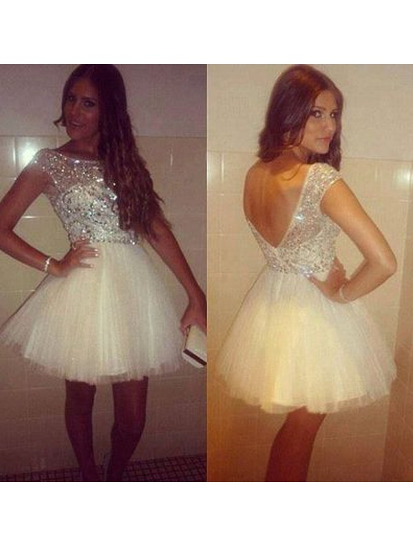 A-Line/Princess Sleeveless Scoop Tulle Short/Mini Dresses with Beading