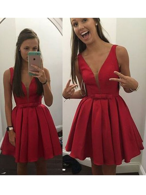 A-Line/Princess Sleeveless V-neck Satin Short/Mini Dresses with Bowknot