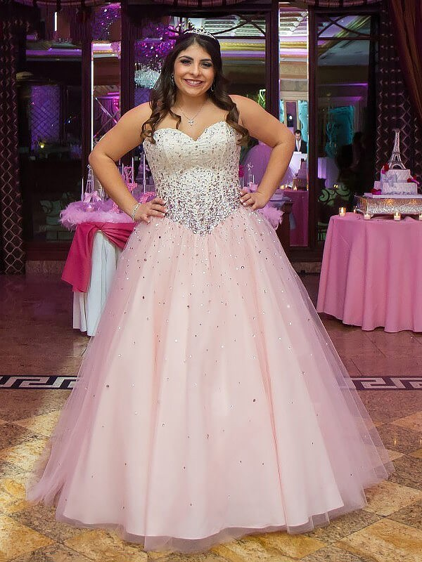 Ball Gown Sweetheart Tulle Floor-Length Plus Size Dress with Beading