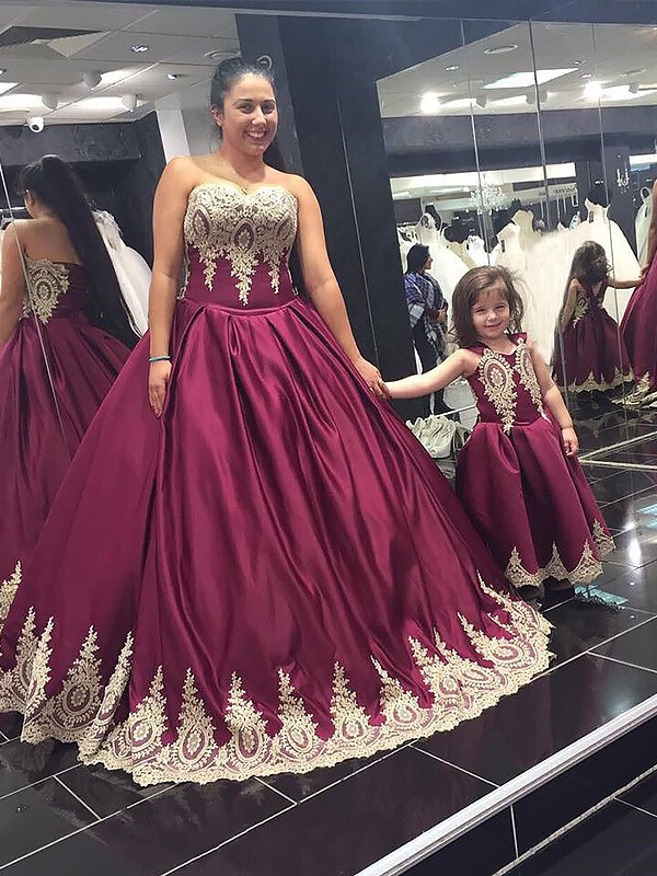Ball Gown Sweetheart Satin Floor-Length Plus Size Dress with Applique