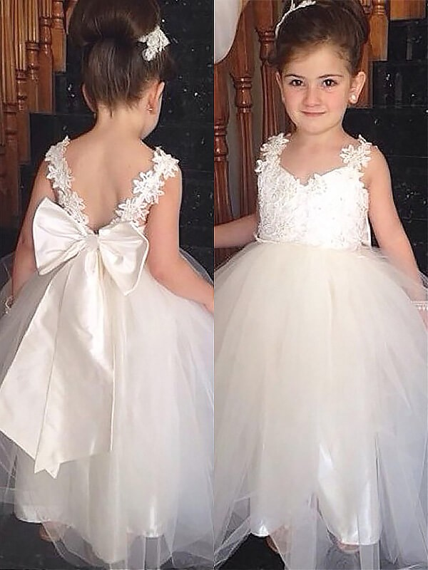 Ball Gown Sweetheart Floor-Length Tulle Flower Girl Dresses with Bowknot