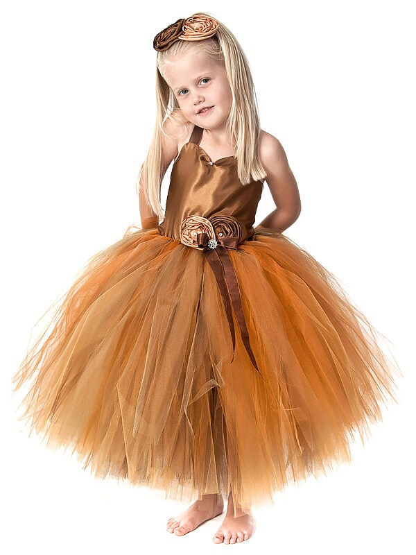 Ball Gown Straps Tea-Length Tulle Flower Girl Dresses with Hand-Made Flower
