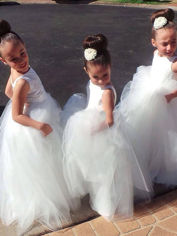 Ball Gown Jewel Floor-Length Tulle Flower Girl Dresses
