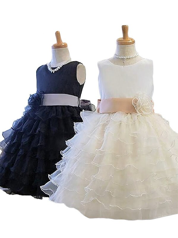 A-Line/Princess Jewel Tulle Short/Mini Flower Girl Dresses with Hand-Made Flower