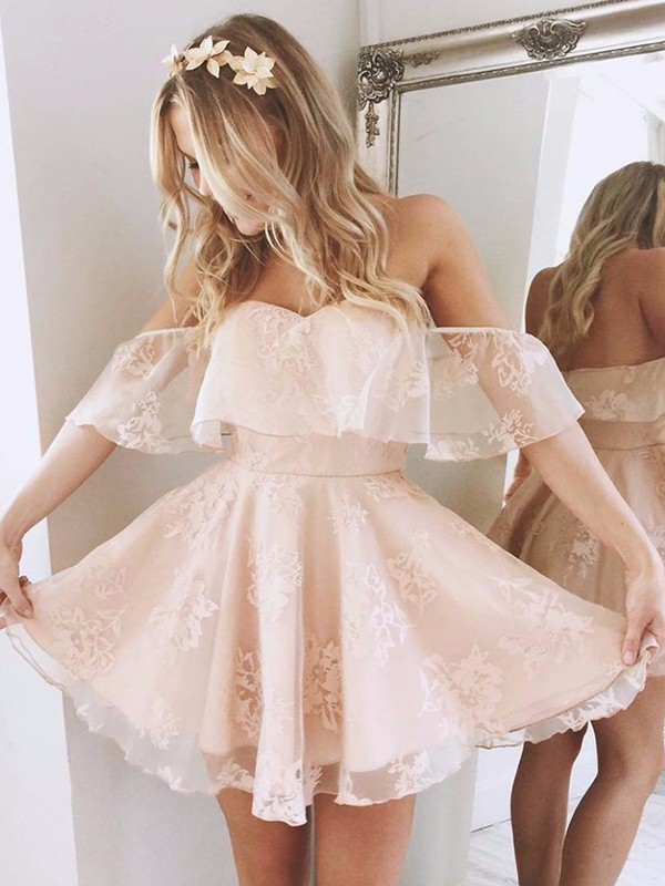 A-Line Off-the-Shoulder Sleeveless Short Lace Dress