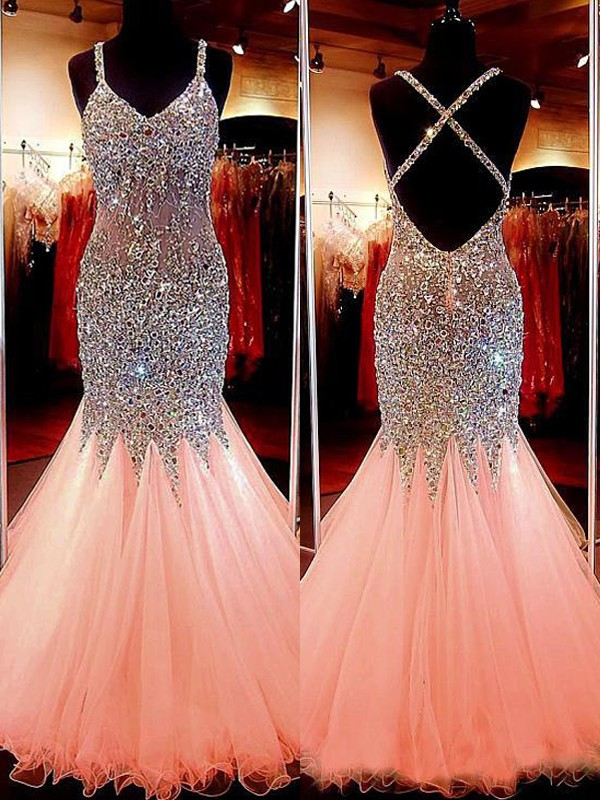 Trumpet/Mermaid V-neck Tulle Sequin Floor-Length Dresses