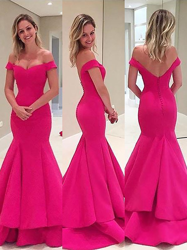 Trumpet/Mermaid Off-the-Shoulder Satin Layers Sweep/Brush Train Dresses