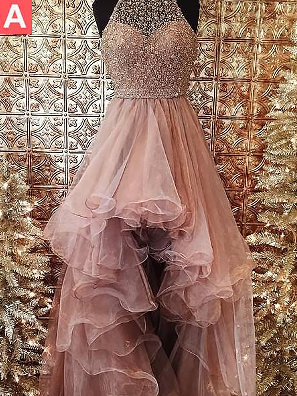 Ball Gown Halter Asymmetrical Sweep/Brush Train Tulle Dresses with Beading