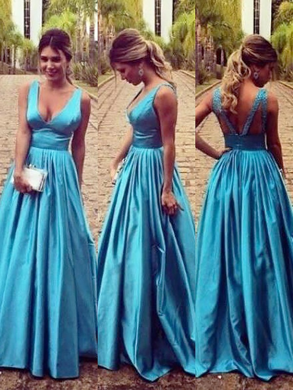 A-Line/Princess V-neck Elastic Woven Satin Floor-Length Dresses with Ruched