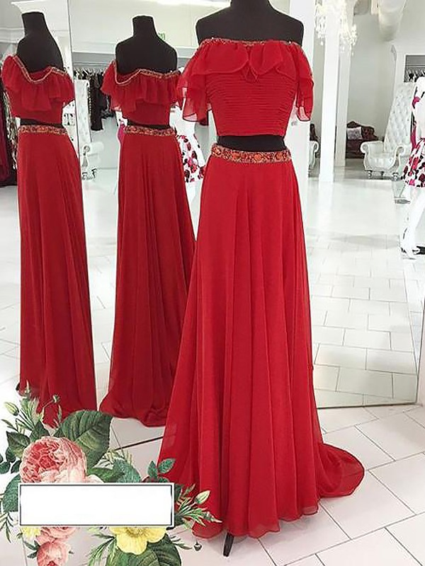 A-Line/Princess Off-the-Shoulder Chiffon Floor-Length Two Piece Dresses with Beading