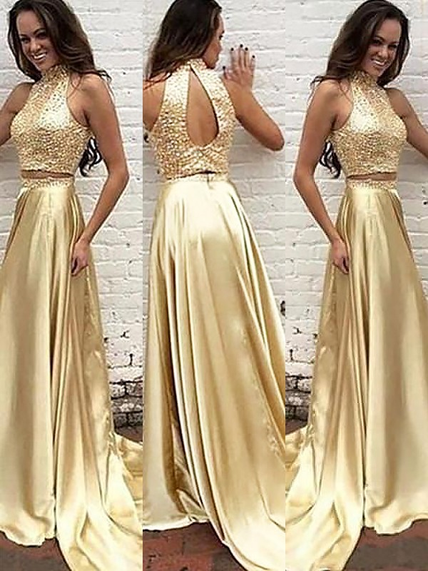 A-Line/Princess High Neck Satin Sweep/Brush Train Two Piece Dresses with Beading