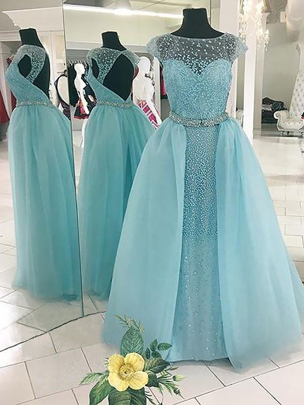 Ball Gown Bateau Floor-Length Tulle Dresses with Beading