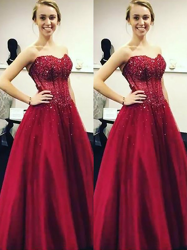 Ball Gown Sweetheart Floor-Length Satin Dresses with Beading