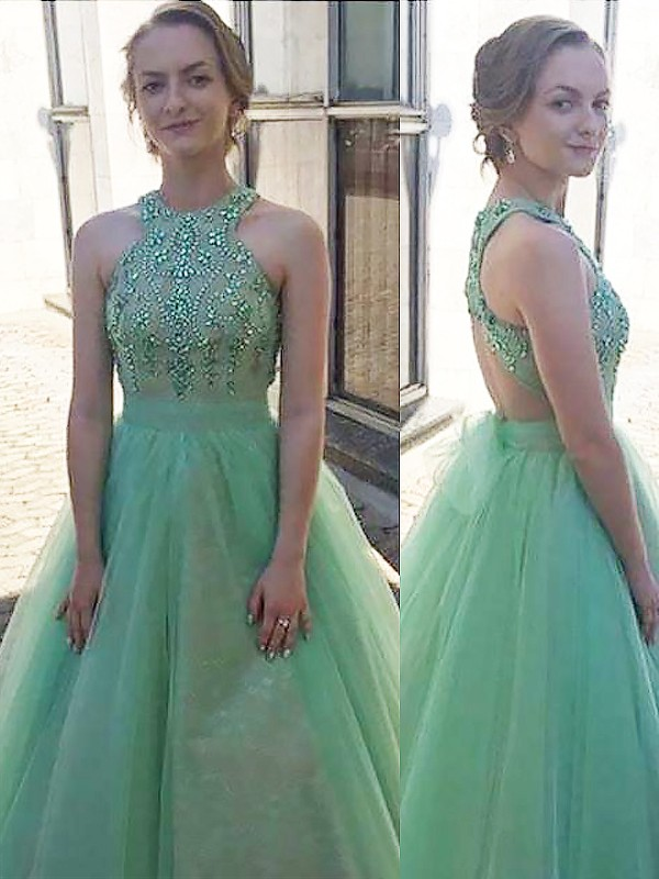 Ball Gown Halter Floor-Length Tulle Dresses with Beading