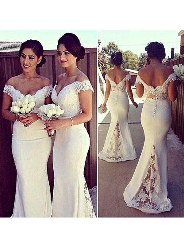 Trumpet/Mermaid Off-the-Shoulder Lace Satin Sweep/Brush Train Dresses with Lace