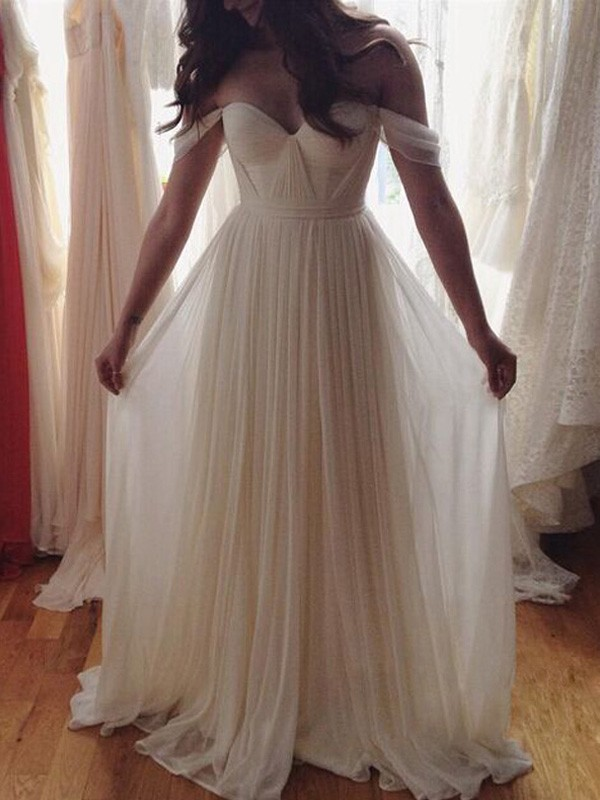A-Line/Princess Sleeveless Off-the-Shoulder Floor-Length Chiffon Dresses with Beading
