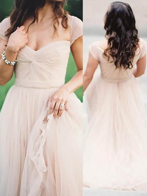 A-Line/Princess Sweetheart Sleeveless Floor-Length Ruched Chiffon Dresses