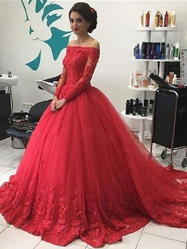 Ball Gown Off-the-Shoulder Lace Tulle Court Train Dress