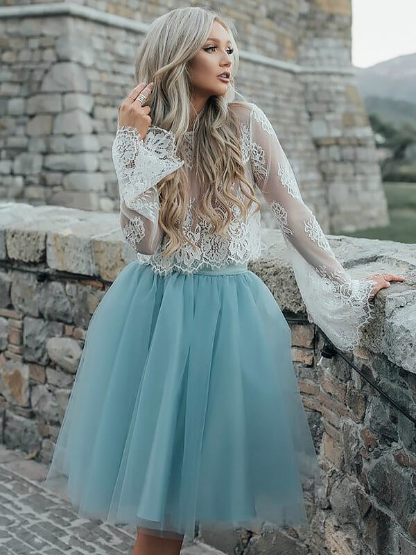 A-Line Scoop Long Sleeves Short Tulle Dress