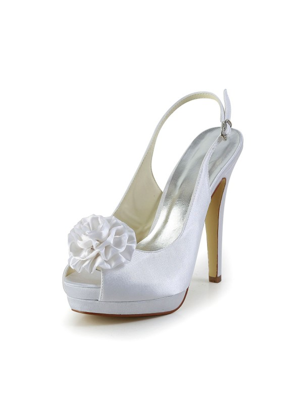 Women's Satin Stiletto Heel Sandals Closed Toe With Flower Wedding Shoes
