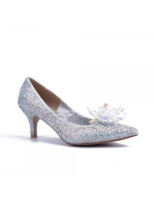 Women's Closed Toe Cone Heel With Crystal Flower Party Shoes