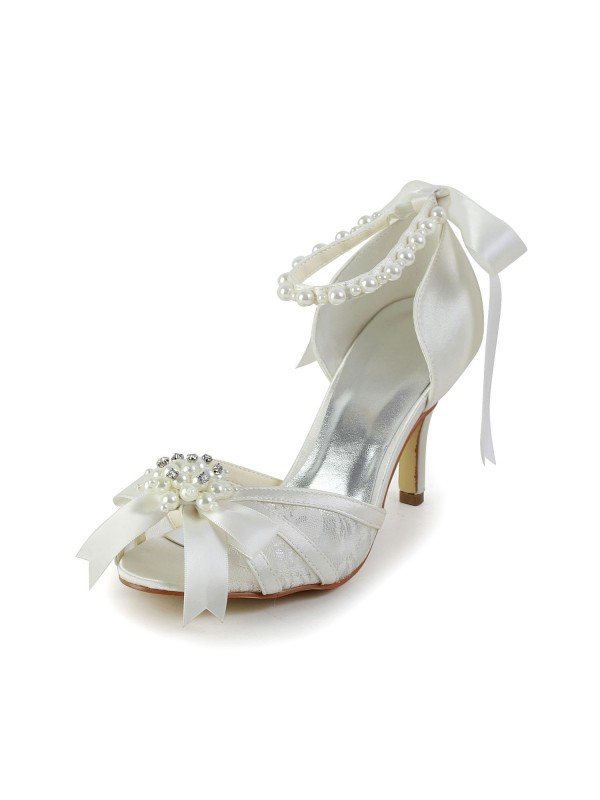 Women's Satin Stiletto Heel Sandals Wedding Shoes With Pearl