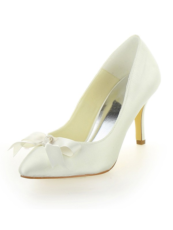 Women's Cone Heel Satin Close Toe With Bowknot Wedding Shoes