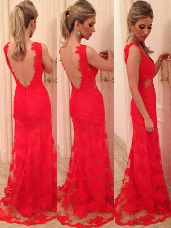 Trumpet/Mermaid V-neck Applique Lace Backless Floor-length Dress