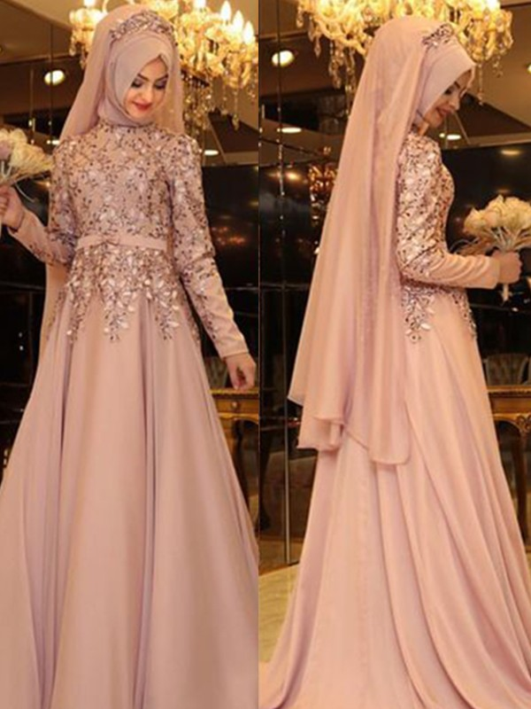 A-Line/Princess High Neck Floor-Length Chiffon Dresses with Beading