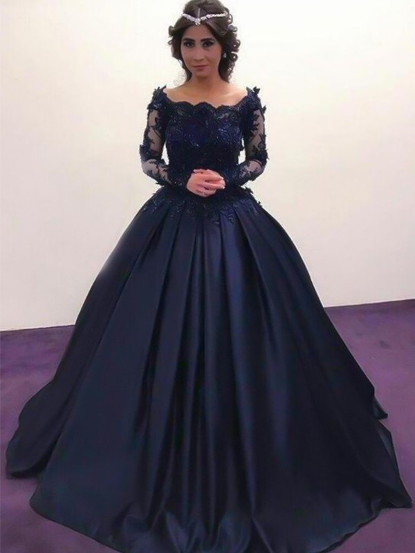 Ball Gown Bateau Sweep/Brush Train Satin Dresses with Applique