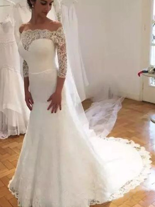 Trumpet/Mermaid Off-the-Shoulder Sweep/Brush Train Lace Wedding Dresses with Ruffles
