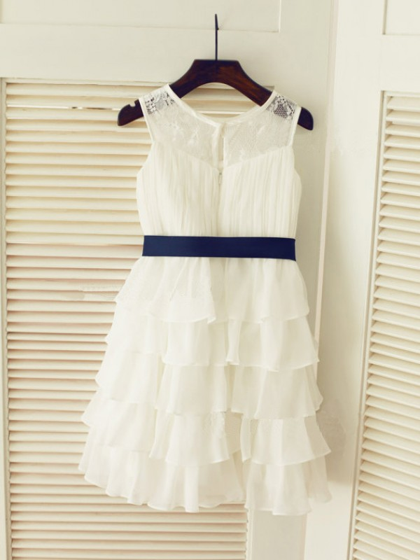 A-line/Princess Scoop Tea-length Chiffon Flower Girl Dress with Ruched