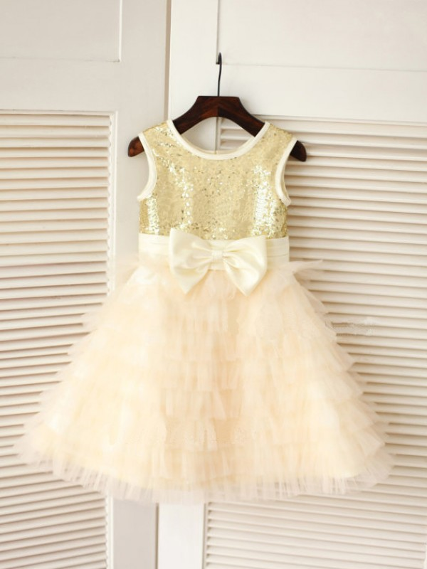 A-line/Princess Scoop Tea-length Tulle Flower Girl Dress with Bowknot