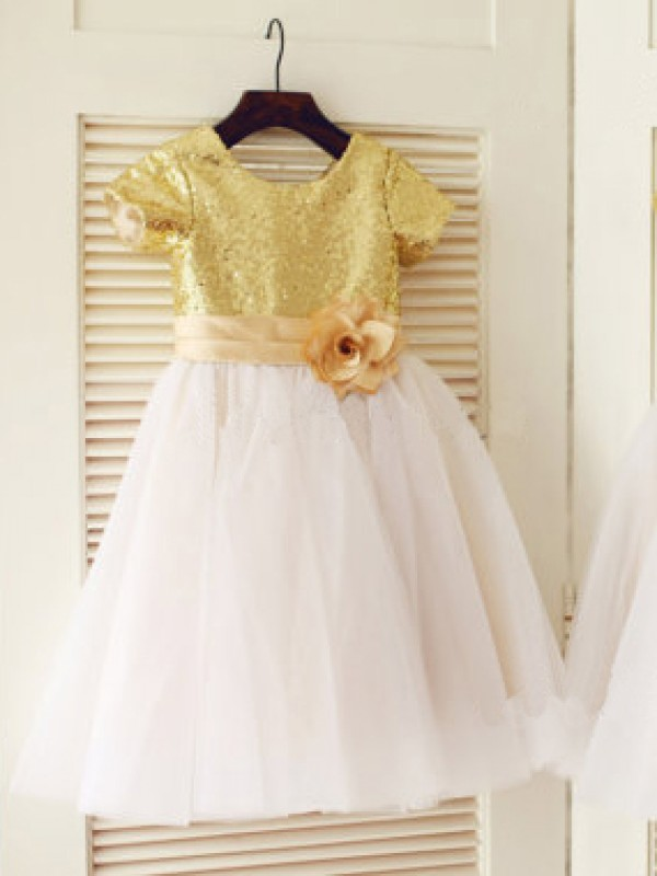 A-line/Princess Scoop Short Sleeves Knee-Length Tulle Flower Girl Dress with Sequins