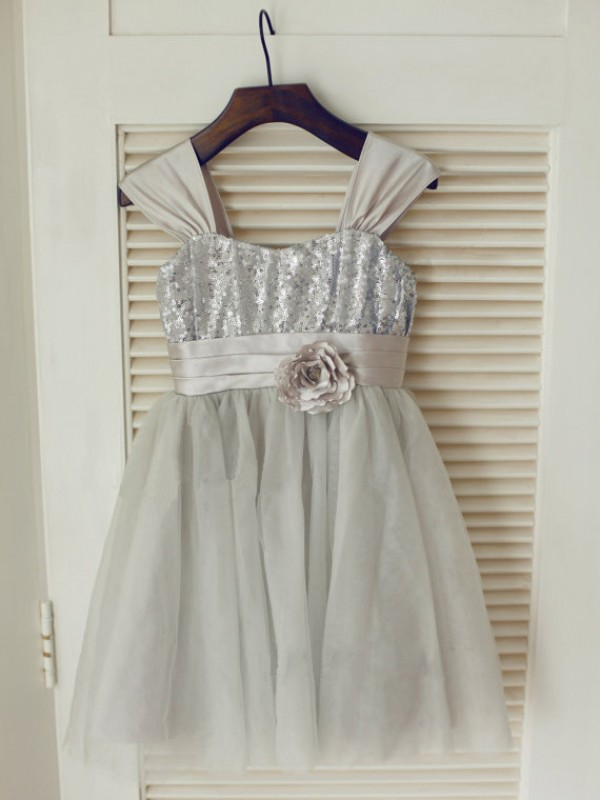 A-line/Princess Straps Tea-length Tulle Flower Girl Dress with Bowknot