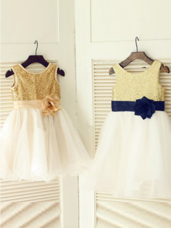 A-line/Princess Scoop Tea-length Tulle Flower Girl Dress with Hand-made Flower