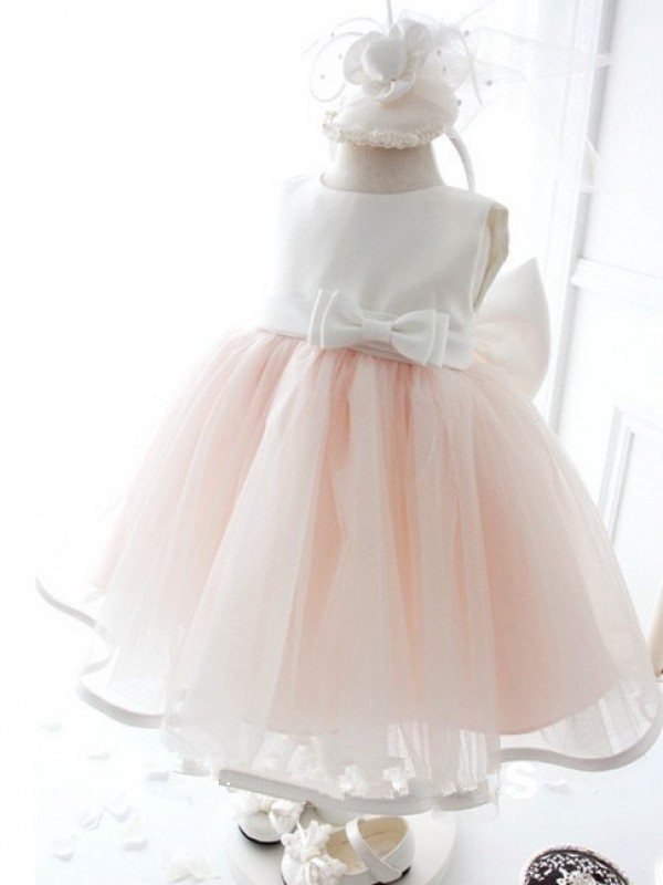 Ball Gown Jewel Tea-Length Organza Flower Girl Dress with Bowknot