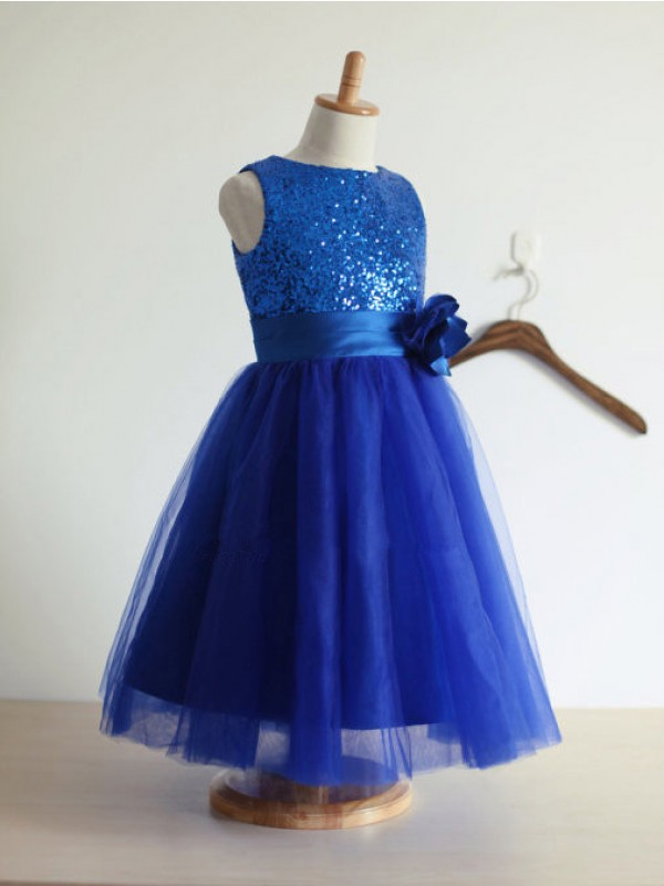 A-line/Princess Jewel Tulle Tea-Length Flower Girl Dress with Hand-made Flower