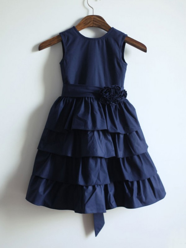 A-line/Princess Jewel Tea-length Taffeta Flower Girl Dress with Sash/Ribbon/Belt