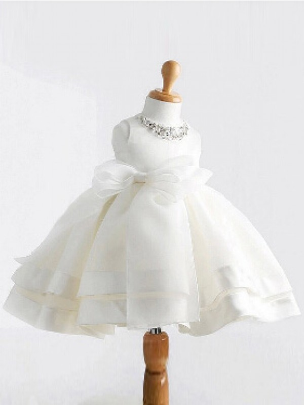 Ball Gown Jewel Tea-length Satin Flower Girl Dress with Bowknot