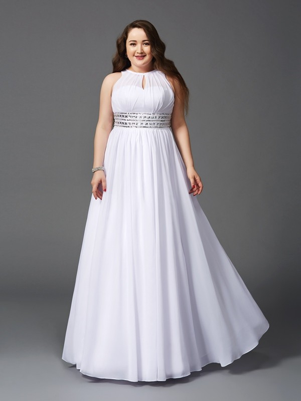 A-Line/Princess Jewel Sleeveless Floor-Length Chiffon Plus Size Prom Dress  with Beading