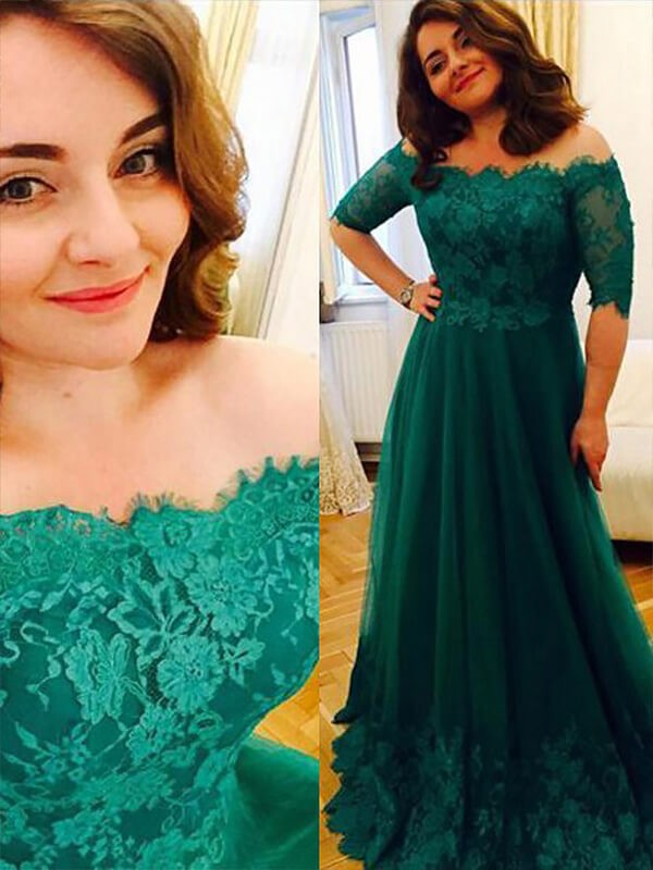 A-Line/Princess Short Sleeves Tulle Off-the-Shoulder Floor-Length Plus Size  Dress with Applique
